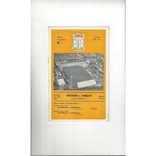 1961/62 Watford v Torquay United Football Programme