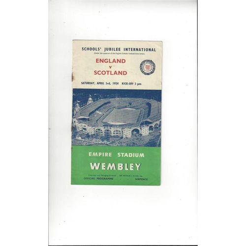 1954 England v Scotland Schools Football Programme