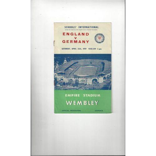 1959 England v Germany Schools Football Programme