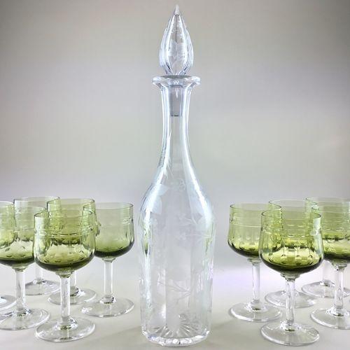 Ten pretty green tulip shaped glasses by Val Saint Lambert