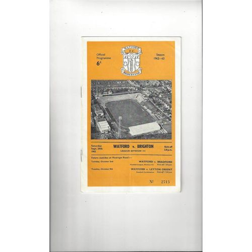 1962/63 Watford v Brighton Football Programme