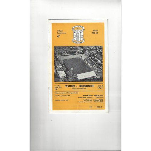 1962/63 Watford v Bournemouth Football Programme