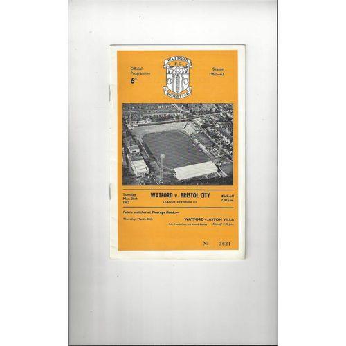 1962/63 Watford v Bristol City Football Programme