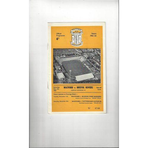 1962/63 Watford v Bristol Rovers Football Programme