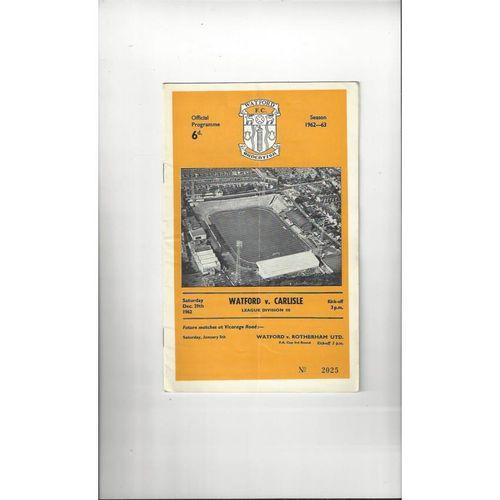 1962/63 Watford v Carlisle United Football Programme