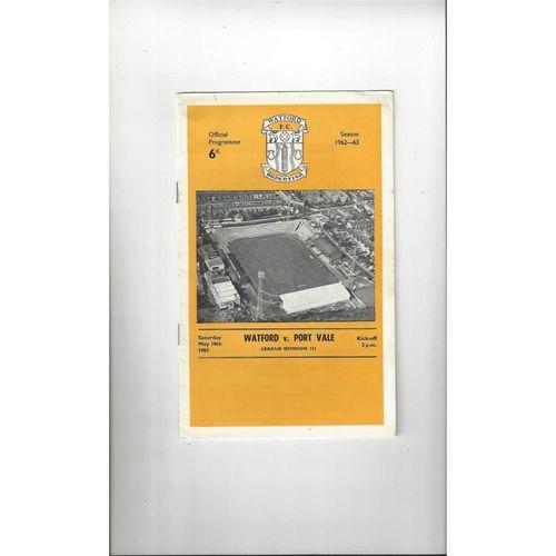 1962/63 Watford v Port Vale Football Programme