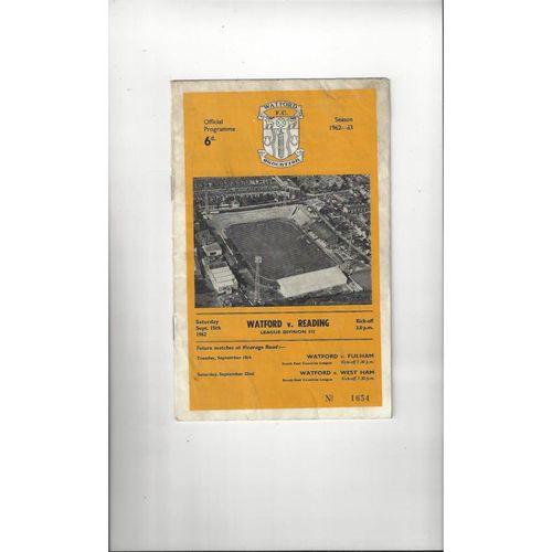 1962/63 Watford v Reading Football Programme
