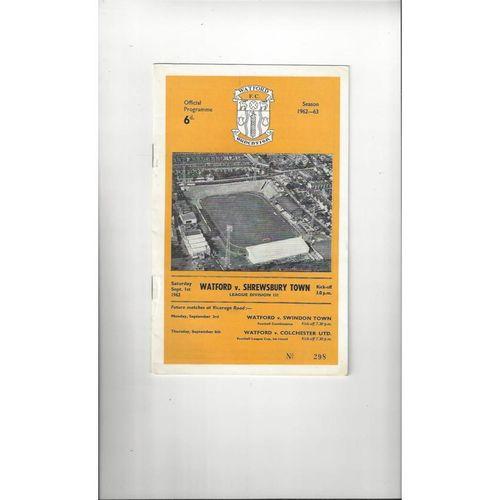 1962/63 Watford v Shrewsbury Town Football Programme