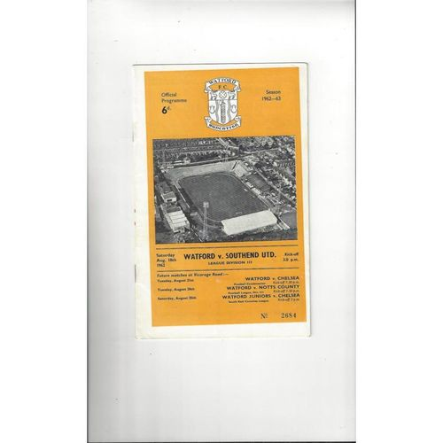 1962/63 Watford v Southend United Football Programme
