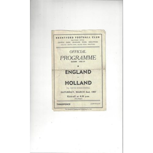 1957 England v Holland Youth Football Programme @ Brentford