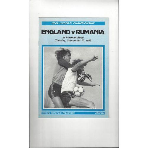 1985 England v Rumania U21 International Football Programme @ Ipswich Town