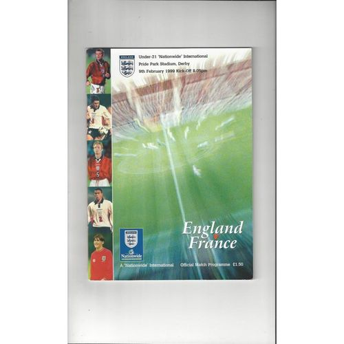 1999 England v France U21 Football Programme @ Derby