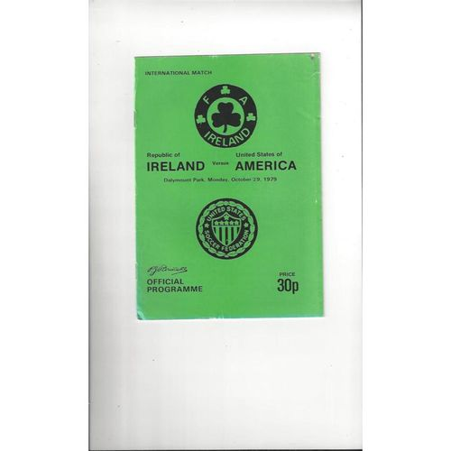 1979 Republic of Ireland v USA Football Programme