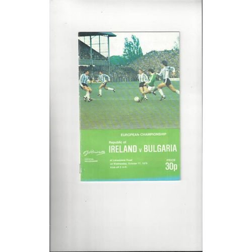 1979 Republic of Ireland v Bulgaria Football Programme