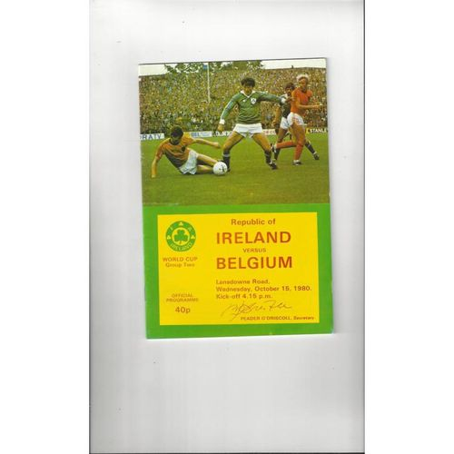1980 Republic of Ireland v Belgium Football Programme