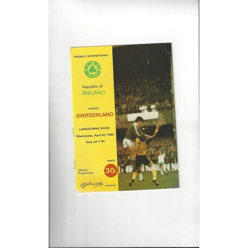 1980 Republic of Ireland v Switzerland Football Programme