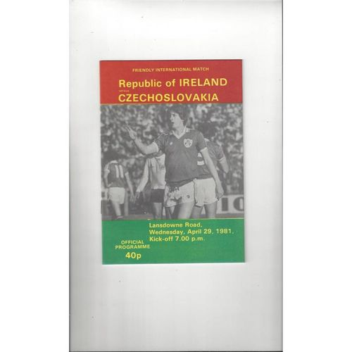 1981 Republic of Ireland v Czechoslovakia Football Programme