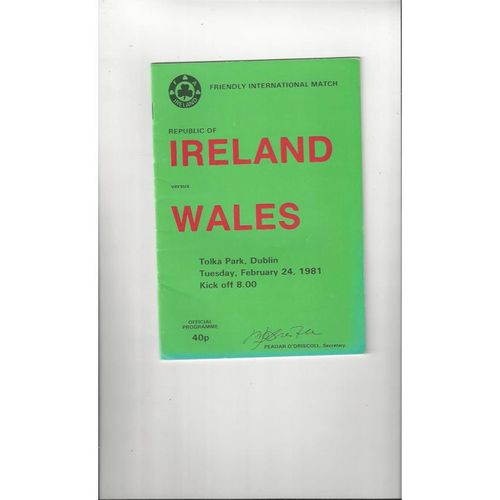 1981 Republic of Ireland v Wales Football Programme