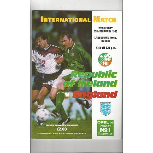 1995 Republic of Ireland v England Football Programme