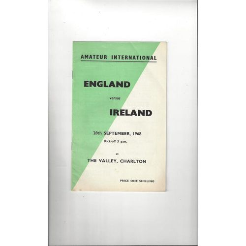 1968 England v Ireland Amateur Football Programme
