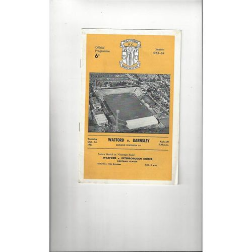 1963/64 Watford v Barnsley Football Programme
