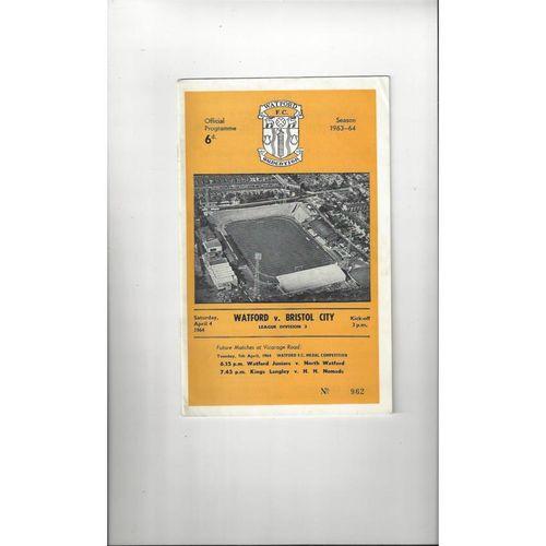 1963/64 Watford v Bristol City Football Programme