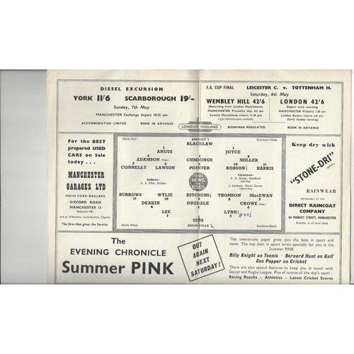 1960/61 Aston Villa v Burnley League Cup Semi Final Replay Football Programme