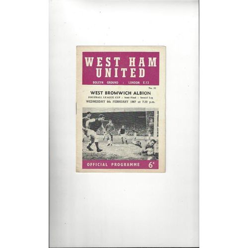 1966/67 West Ham United v West Bromwich Albion League Cup Semi Final Football Programme