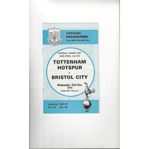 1970/71 Tottenham Hotspur v Bristol City League Cup Semi Final Football Programme