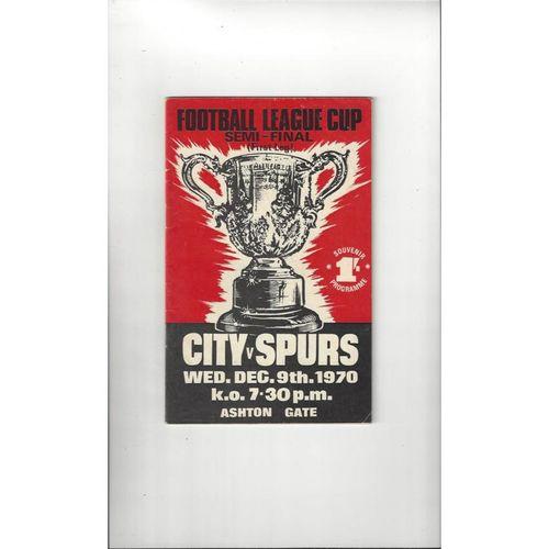 1970/71 Bristol City v Tottenham Hotspur League Cup Semi Final Programme
