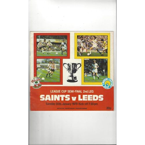 1978/79 Southampton v Leeds United League Cup Semi Final Football Programme
