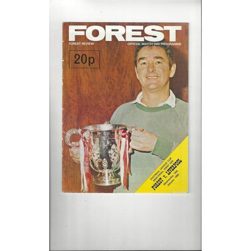 1979/80 Nottingham Forest v Liverpool League Cup Semi Final Programme