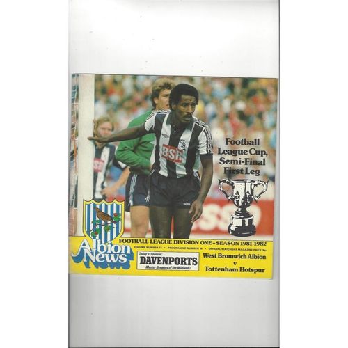 1981/82 West Bromwich Albion v Tottenham Hotspur League Cup Semi Final Football Programme