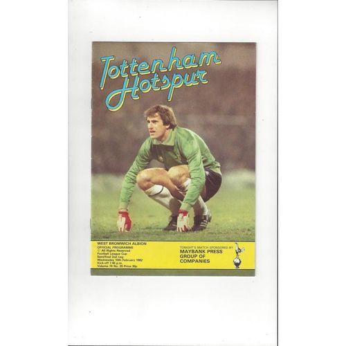 1981/82 Tottenham Hotspur v West Bromwich Albion League Cup Semi Final Football Programme