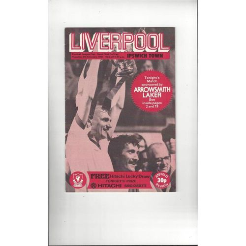 1981/82 Liverpool v Ipswich Town League Cup Semi Final Programme