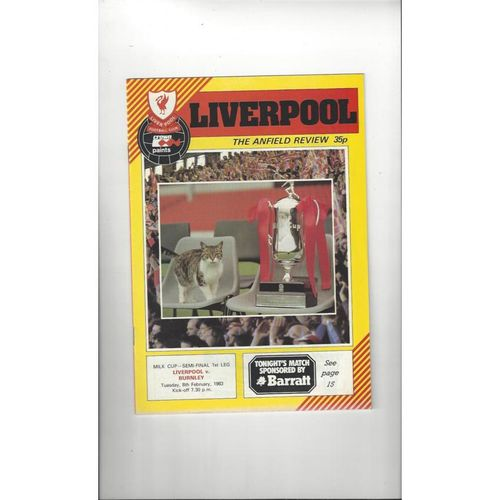 1982/83 Liverpool v Burnley League Cup Semi Final Programme