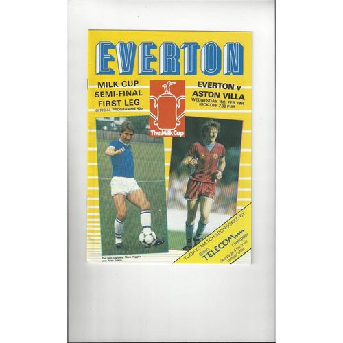 1983/84 Everton v Aston Villa League Cup Semi Final Programme