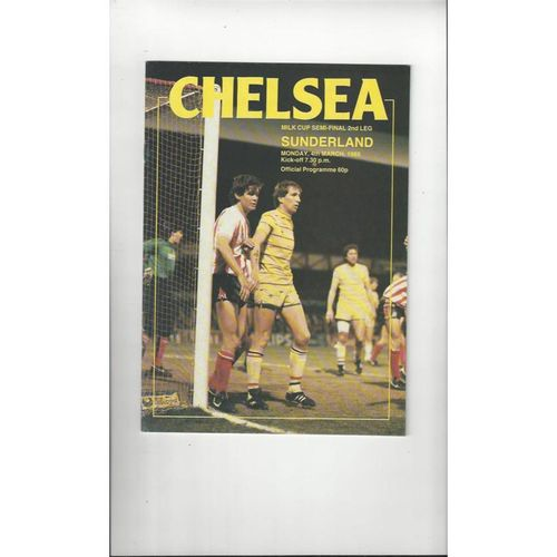 1984/85 Chelsea v Sunderland League Cup Semi Final Football Programme