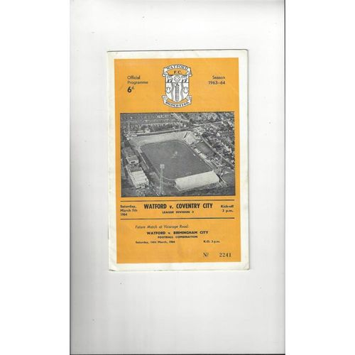 1963/64 Watford v Coventry City Football Programme