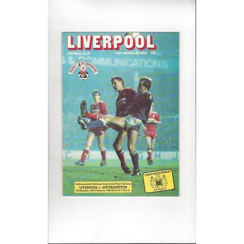 1986/87 Liverpool v Southampton League Cup Semi Final Football Programme