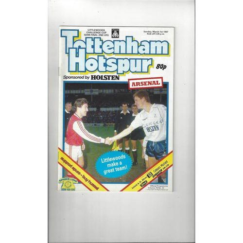 1986/87 Tottenham Hotspur v Arsenal League Cup Semi Final Football Programme