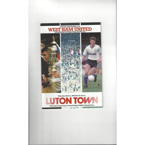 1988/89 Luton Town v West Ham United League Cup Semi Final Football Programme