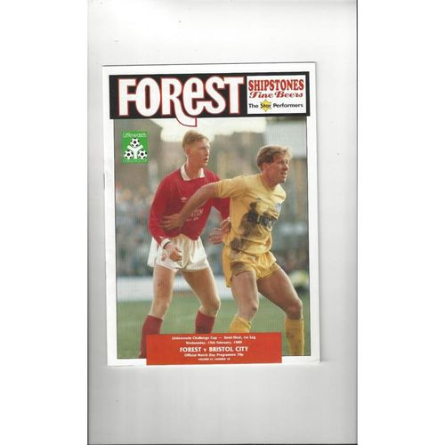 1988/89 Nottingham Forest v Bristol City League Cup Semi Final Programme