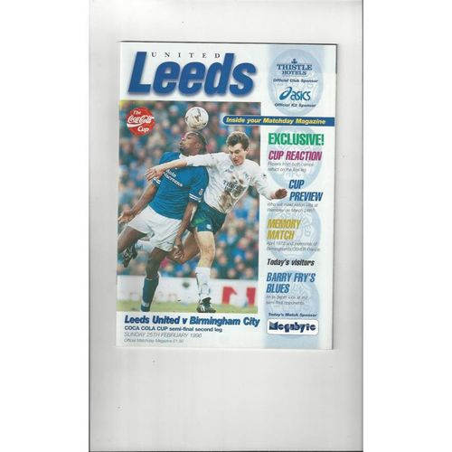 1995/96 Leeds United v Birmingham City League Cup Semi Final Programme