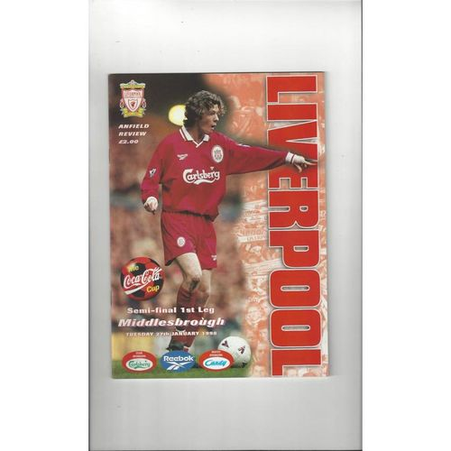 1997/98 Liverpool v Middlesbrough League Cup Semi Final Programme