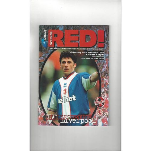 1997/98 Middlesbrough v Liverpool League Cup Semi Final Football Programme
