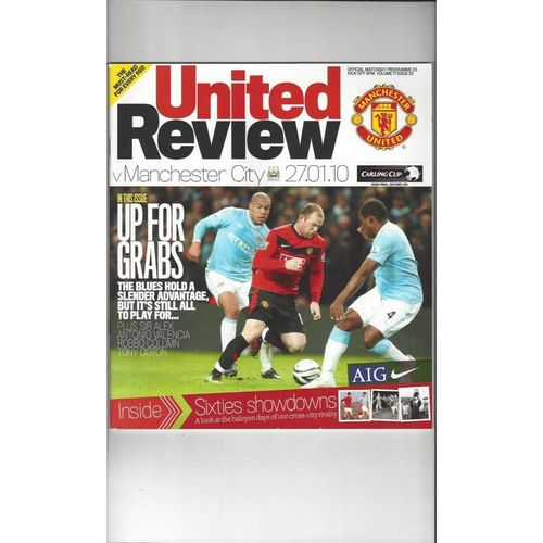 2009/10 Manchester United v Manchester City League Cup Semi Final Programme