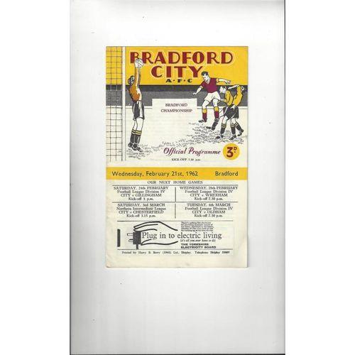 1961/62 Bradford City v Bradford Park Avenue Bradford Championship Programme