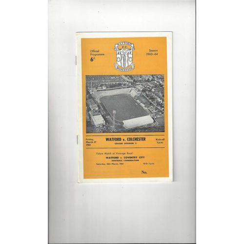 1963/64 Watford v Colchester United Football Programme