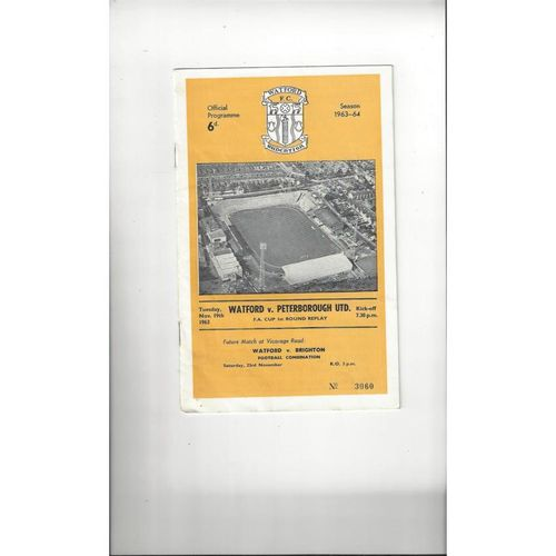 1963/64 Watford v Peterborough United FA Cup Replay Football Programme